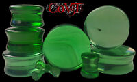 """Pair 8g-1"""" Emerald Glass Plugs Organic Tunnels Green Double Flare Ear Gauges"""