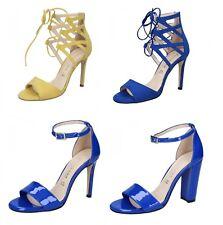 OLGA RUBINI scarpe sandali Estate da donna in Tessuto e vernice Giallo e Blu