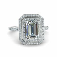 Real 1.50ct Classic Emerald Cut Moissanite Ring 14kt White Gold Double Halo Ring