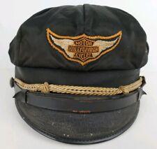 Vintage Harley Davidson Black Brando Style Captains Motorcycle Riders Hat Cap
