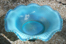 Ribbed Spiral Blue Opalescent Bowl Circa 1902
