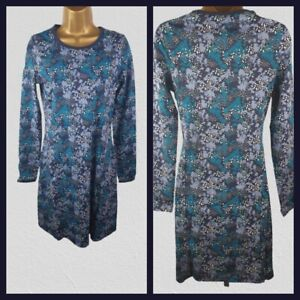 Ex Mountain Warehouse Floral Printed Dress Blue Summer Holiday Dress Size 6 - 20