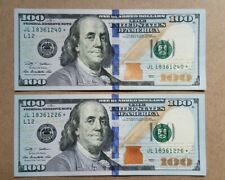 Two  $100 FEDERAL RESERVE ✯ STAR NOTE HUNDRED DOLLAR BILLS  2009