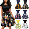 Summer Women Vintage Floral Belt A-Line Swing Dress Casual Work Party Cocktail