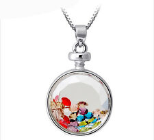 Beautiful Colourful Full of Small Crystal Perfume Bottle Pendant Necklace N236