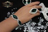 Edeles Luxus Strass Armband,Brautschmuck Bracelet Zirkonia Hochzeit Silber Grün