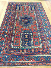 Magnificent RARE Antique Russian Kazak 4x6 Oriental Area Rug Caucasian red blue