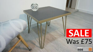 Matt Gold Powder Coated Steel and Tile Square Hairpin Side Table