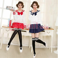 Neu Girls School Maid Costume Cosplay Kostüm Sailor Kleid Student Uniform+Sock