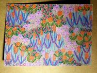 Original OOAK ACEO ATC 2.5 x 3.5 Signed Colorful Floral Flower Garden #024