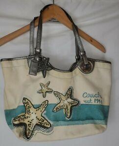 COACH STAR FISH LIMITED EDITION BEACH CANVAS TOTE SHOULDER BAG STARFISH