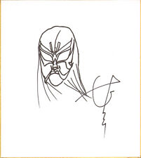 Great Sasuke Signed w/ Mask Sketch Shikishi BAS COA WWE New Japan Pro Wrestling