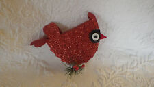 "Cardinal Bird Christmas Holiday Decoration Hard Plastic Red 6"" Long 4 1/2"" Tall"