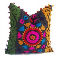 5 PCS Suzani Hand Embroidery Cushion Cover Christmas Decor Cotton Pillow Cases