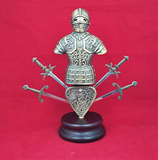 More details for brass cast model of a suit of armour with four swords - 1.4kg