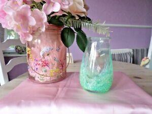 LOVELY GREEN with FLECKS of WHITE ART GLASS VASE....