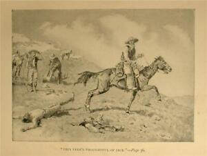1897 KILLINGS ON THE RANGE PRINT BY FREDERIC REMINGTON CATTLE HISTORY TEXAS