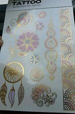 TATOUAGE TEMPORAIRES BODY ART TATTOO HENNE DORE BLEU ROSE CHANGE DE COULEURS !!