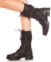 Anfibi donna scarponcini stivali militari unisex neri fibbie lacci stivaletti