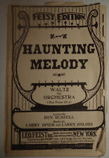 BEN RUSSELL: HAUNTING MELODY - WALTZ SHEET MUSIC FOR ORCHESTRA - 1924