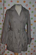 FOREVER 21 SHORT TRENCH COAT WOMEN JR L big buttons double breast khaki CHIC EUC