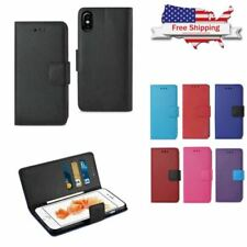 Premium Flip Wallet Card Holder Cover Stand Case For iPhone X 7 8 XR Shockproof