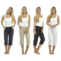 Ladies Cropped Linen Trousers Womens 3/4 Length Shorts Size 10 12 14 16 18