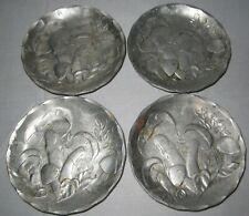 a Set of 4 Hammered Aluminum Coaster by Wendell August Forge ~ Mushroom Design