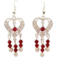 Heart Chandelier Siam Red Crystals White Pearls Sterling SIlver Earrings