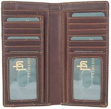 PRIMEHIDE RFID BLOCKING BROWN LEATHER GENTS JACKET LONG BIFOLD WALLET - 2008