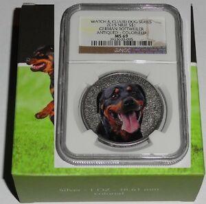 Niue 1 Oz Silver German Rottweiler Color 2015  NGC MS - 69 Slab Rare Silvercoin