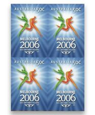 Australia 2006 Commonwealth Games Emblem IMPERF Block of 4 Stamps ex Booklet MUH