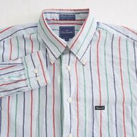 Faconnable Mens Button Up Shirt Long Sleeve Blue Green Striped Cotton Size Large