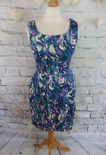 "OASIS lined dress 8 34 bust 31"" purple floral cotton mix tulip shape sleeveless"