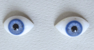 OVAL BLOWN GLASS PAPERWEIGHT EYES - BLUE - GENUINE ANTIQUE