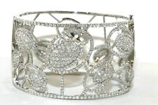 Oval Diamond Criss Cross Cluster Cuff Bangle Bracelet 18K White Gold 9.71Ct