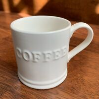 "3.5"" x 3"" White Coffee Mug / Cup Stoneware - ""coffee"" words embossed"