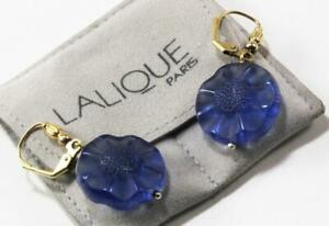 LALIQUE FLEUR FLOWER FROSTED BLUE CRYSTALGOLD PLATED DROP DANGLE EARRINGS