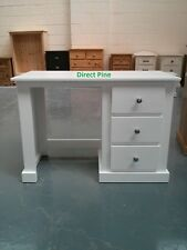 AYLESBURY 3 DRAWER DRESSING TABLE WHITE WITH SILVER CHROME HANDLES NO FLAT PACKS