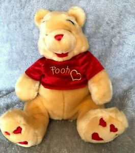 "Disney Store Winnie The Pooh Red Jumper Love Heart Feet 16"" Soft Toy"