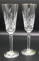 WATERFORD GOLDEN LISMORE Champagne Flutes Set of 2 NEW crystal wine glass tall