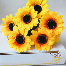 7 Heads Artificial Sunflower Faux Silk Flowers Home Wedding Decor  Braw