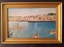 """Ancien Tableau Marine """" Paquebot Ville d'Alger """" Port d'Alger Huile signée"""