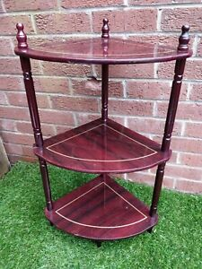 Corner Shelf 3 Tier Vintage Wooden Mid Century Modern Shelving Unit Retro Home