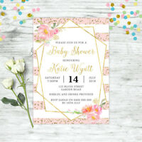 BABY SHOWER INVITATION PERSONALISED FLORAL INVITE PINK GOLD GIRL BOHO CHIC