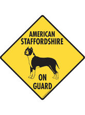 Warning! American Staffordshire Terrier On Guard Aluminum Dog Sign and Sticker
