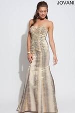 Jovani Gold Starpless Embellished Mermaid Pageant Prom Evening Dress Sz 6 NWT