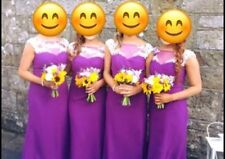 4 x bridesmaid dresses, purple with white detail, only wore once