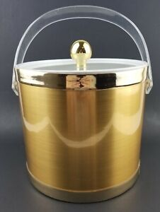 Insulated Ice Bucket With Lid And Handle Gold Retro Barware