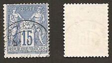 Timbre France 1878 N°90 IIb bleu oblitéré CAD = cachet, état TB.